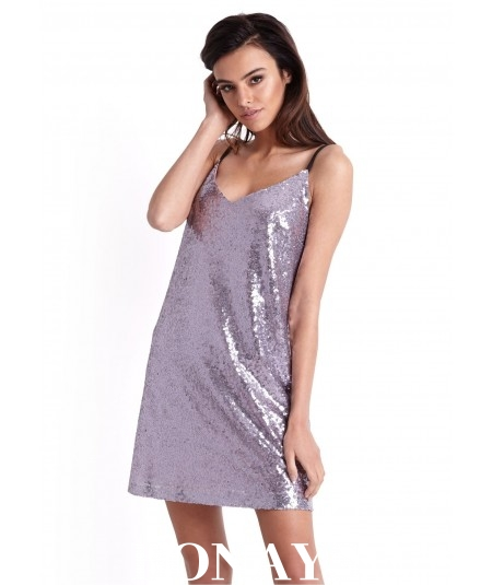 liliowa luźna sukienka mini ivon