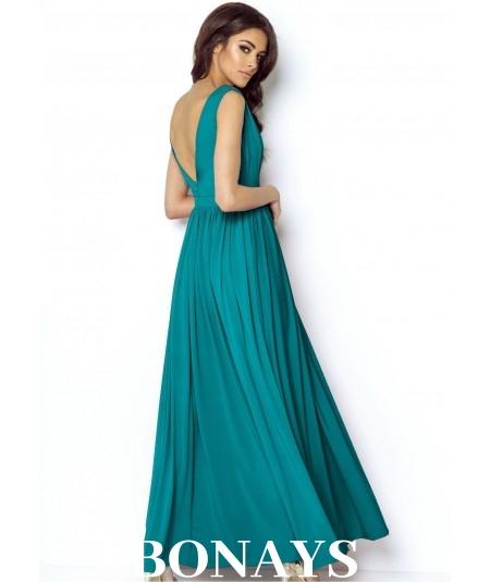 morska sukienka maxi