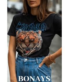 Czarny basicowy t-shirt ROAR CHIARA
