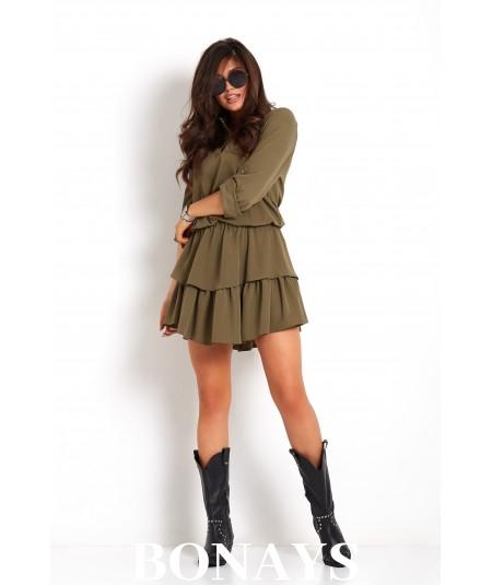 Casualowa sukienka z falbankami  w kolorze khaki - KYLIE