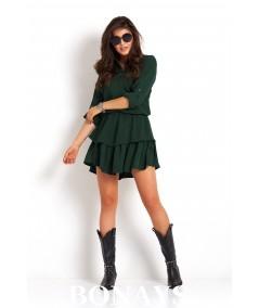 Zielona casualowa sukienka z falbankami - KYLIE