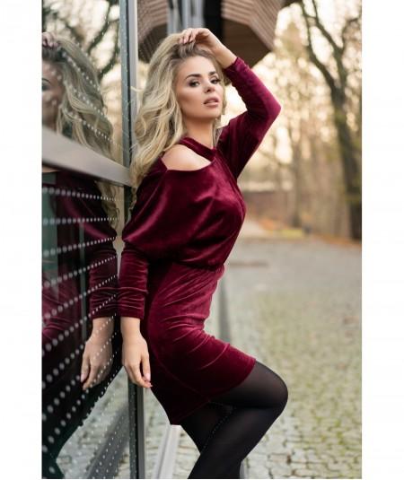 Welurowa bordowa sukienka z rękawem MILONA