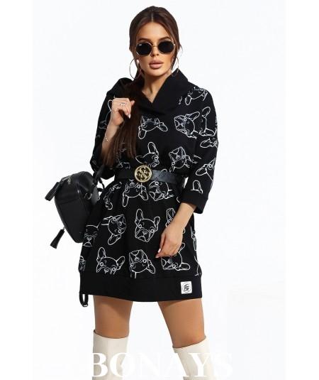 Czarna dresowa sukienka z buldogami