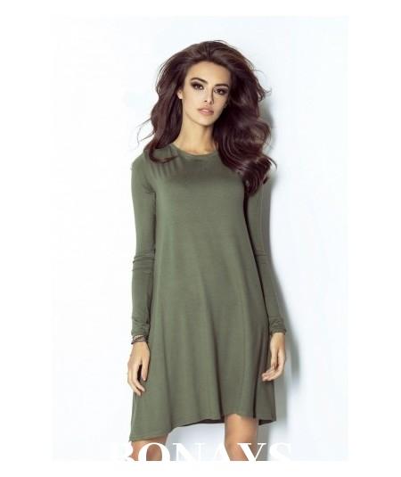 zielona trapezowa sukienka dzienna ivon