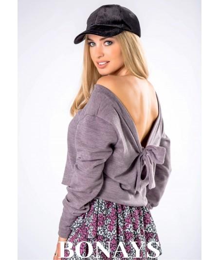 Sweter damski z odkrytymi plecami i kokardą VENNICE