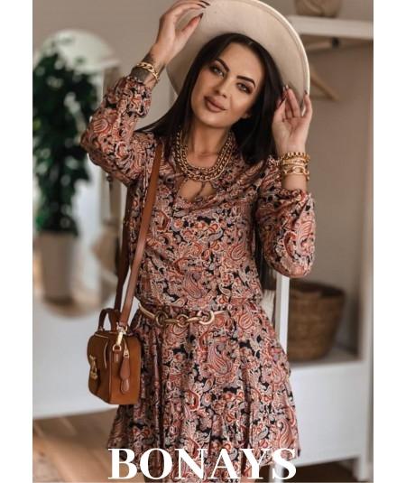 Sukienka z falbankami i dekoltem PORTOFINO