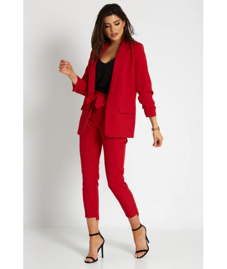 Czerwony garnitur damski z marynarką oversize