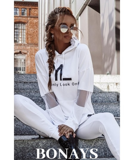 Biała luźna bluza damska – You Only Look Once