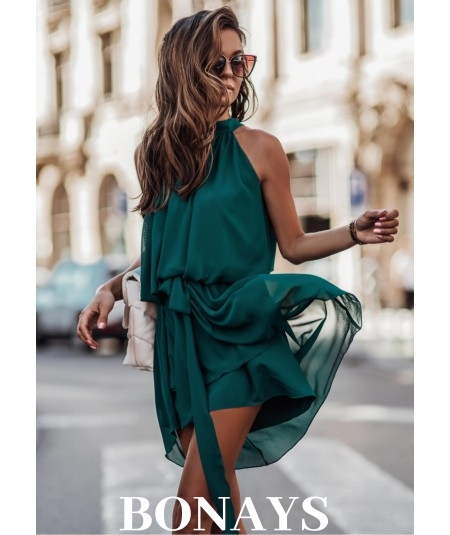 Butelkowa zwiewna sukienka szyfonowa LIVIA