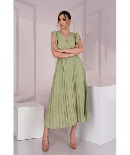 Oliwkowa sukienka midi z falbankami i dekoltem Merlotina