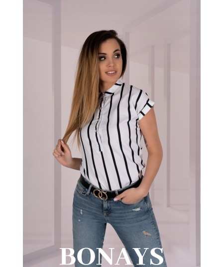 Elegancka biała bluzka w paski Ouranilla