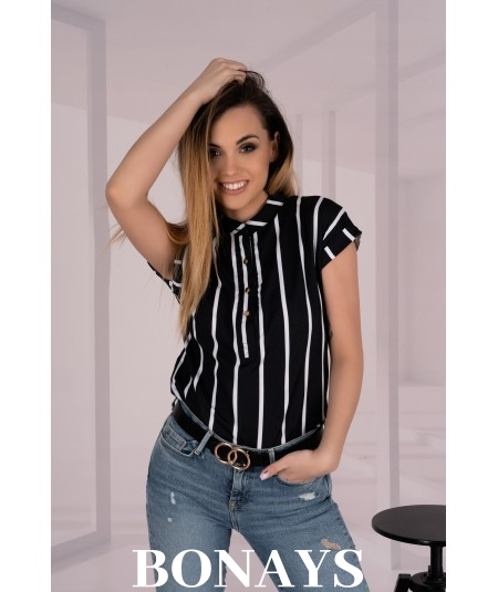 Elegancka czarna bluzka w paski Ouranilla