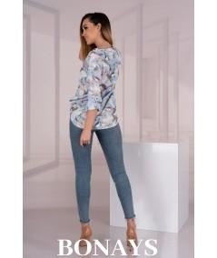Elegancka kolorowa koszula damska z guziczkami KALENA