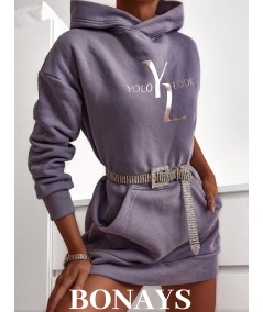 Wrzosowa bawełniana tunika długa bluza z kapturem Eve