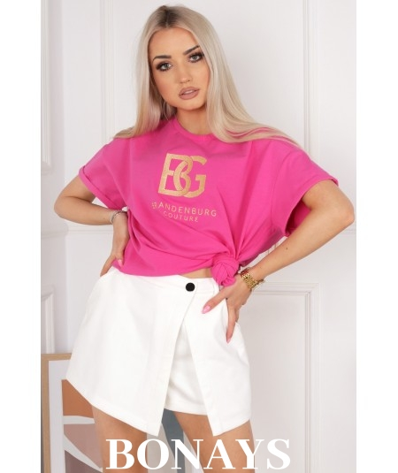 Bawełniany T-Shirt BG jasna fuksja BRANDENBURG COUTURE