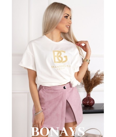 Bawełniany T-Shirt BG ecru BRANDENBURG COUTURE