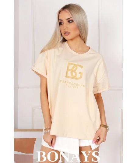 Bawełniany T-Shirt BG bananowy BRANDENBURG COUTURE