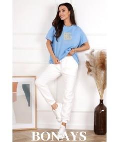 Bawełniany T-Shirt BG błękit BRANDENBURG COUTURE
