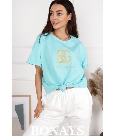 Bawełniany T-Shirt BG miętowy BRANDENBURG COUTURE