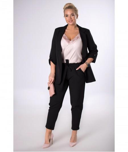 Czarne spodnie z wysoką talią paper bag ANETA