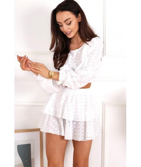 Ażurowy biały komplet spódniczka i bluzka Organic