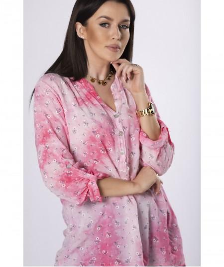 Różowa cieniowana lekka koszula damska Kejsi
