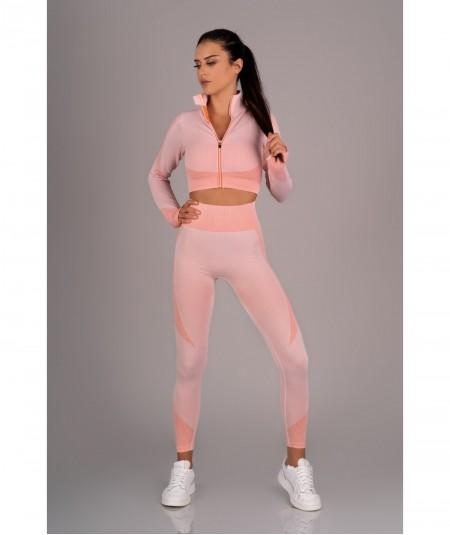 Różowy zestaw sportowy spodnie + top + bluza