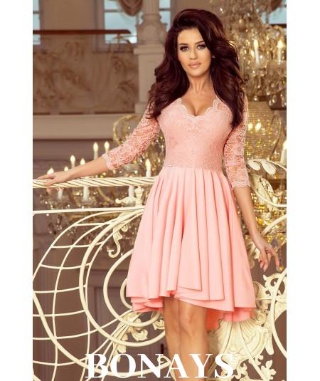 Pastelowa rozkloszowana sukienka z koronki Nicole