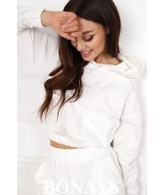 Kremowy dres z haftem i kieszeniami Honey