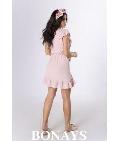Prosta pudrowa sukienka z zakładką zakończoną falbanką Keema