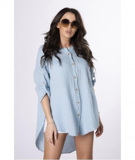 Luźna błekitna koszula damska z bawełny Erika
