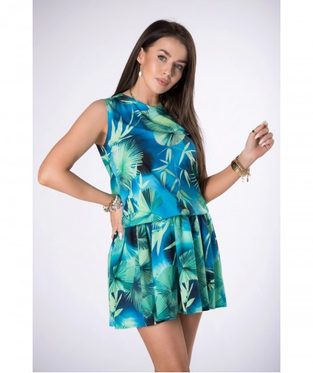 Niebieska sukienka mini w florystyczny print palmy
