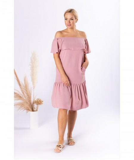 Wyszczuplająca sukienka hiszpanka dla puszystych różowa