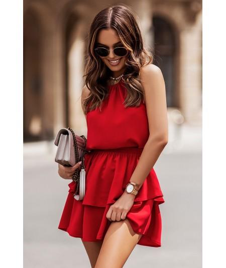 Czerwony komplet spódnica i bluzka na lato Costa