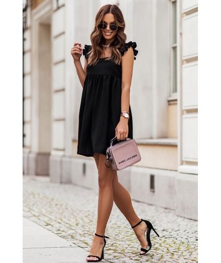 Czarna oversizowa sukienka z falbanami Noel