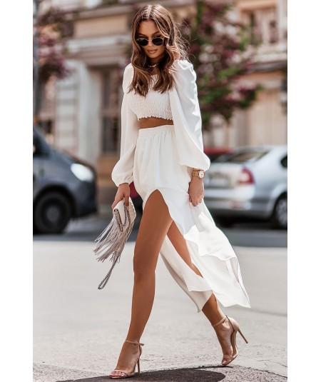 Kremowy komplet bluzka hiszpanka i długa spódnica Tiffi