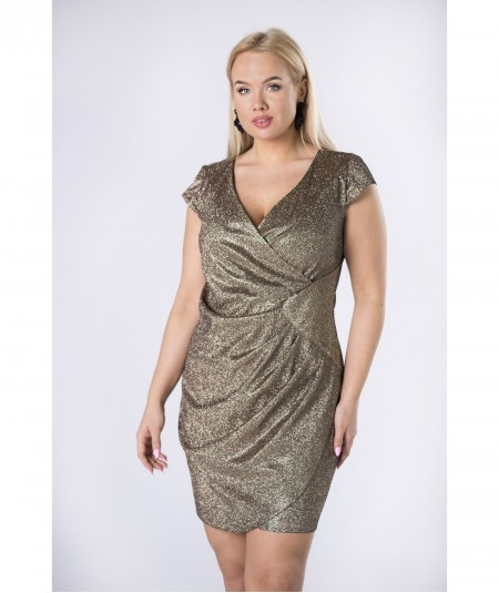 Złota brokatowa sukienka mini Paula