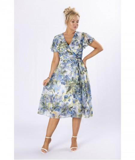 Szyfonowa sukienka z kopertowym dekoltem w kwiaty niebieska
