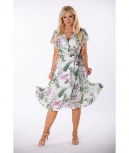 Szyfonowa sukienka z kopertowym dekoltem w kwiaty zieleń
