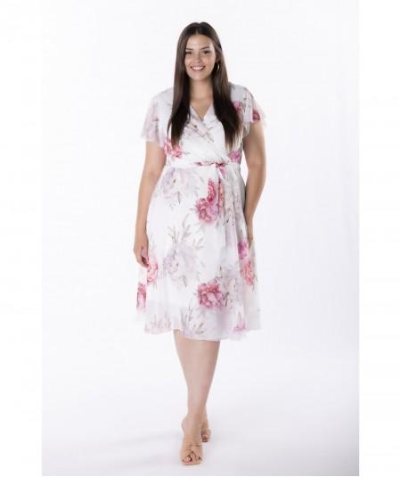 Szyfonowa sukienka z kopertowym dekoltem w kwiaty krem