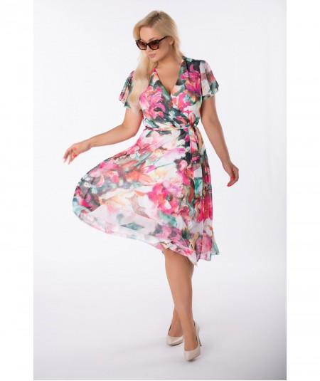Szyfonowa sukienka z kopertowym dekoltem w kwiaty róż