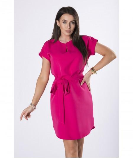 Malinowa elegancka sukienka ze stójką