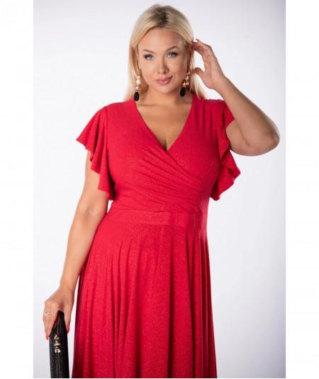 Czerwona sukienka midi z kopertowym dekoltem i brokatem