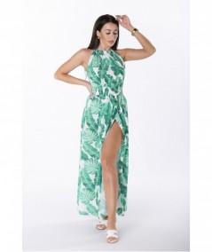 Plażowa sukienka maxi w listki