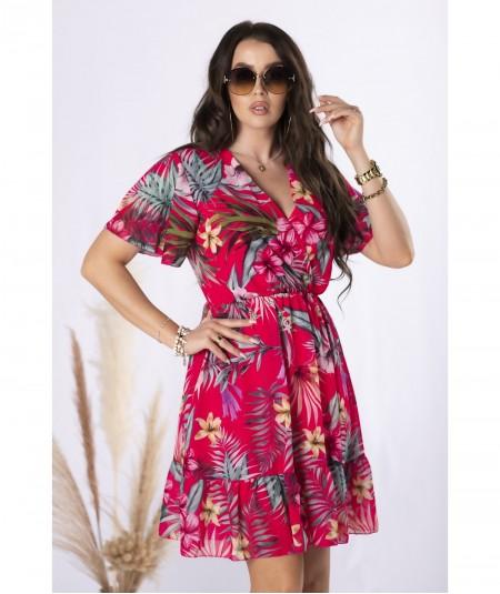 Szyfonowa sukienka z kopertowym dekoltem flowers