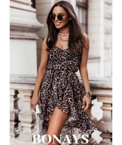 Asymetryczna zwiewna sukienka w panterkę ARIANA