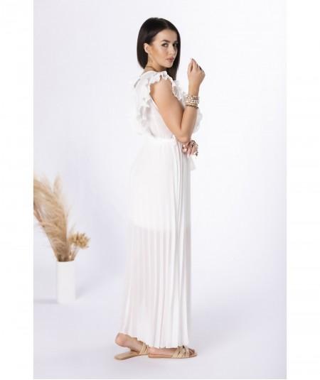 Kremowa plisowana sukienka z szyfonu MAXI