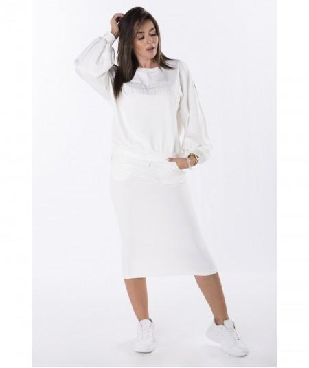 Kremowy komplet dresowy spódnica midi i bluza