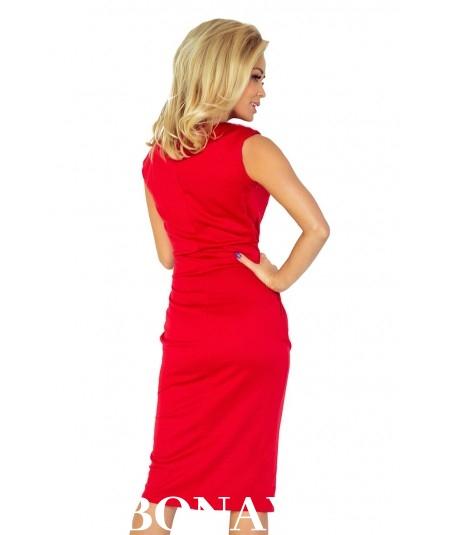 Czerwona sukienka z kieszeniami o sportowym fasonie Sara