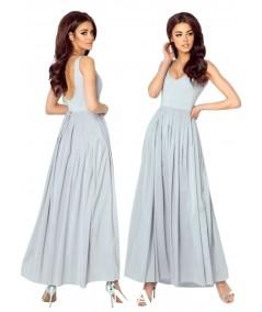 Szara sukienka maxi bez rozporka na nogę ANDREA